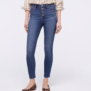 J. Crew Button Front High Rise Skinny Jeans